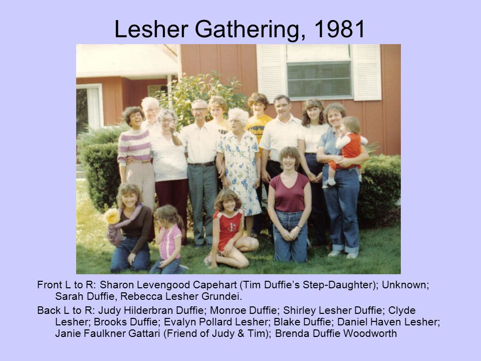 Lesher Gathering, 1981 Front L to R: Sharon Levengood Capehart (Tim Duffie's Step-Daughter); Unknown; Sarah Duffie, Rebecca Lesher Grundei.