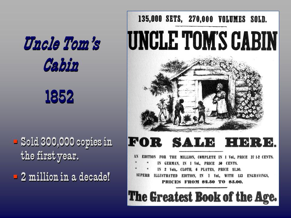 Uncle Tom's Cabin 1852 Sold 300,000 copies in the first year.