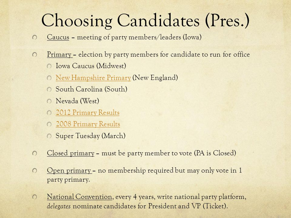 Choosing Candidates (Pres.)