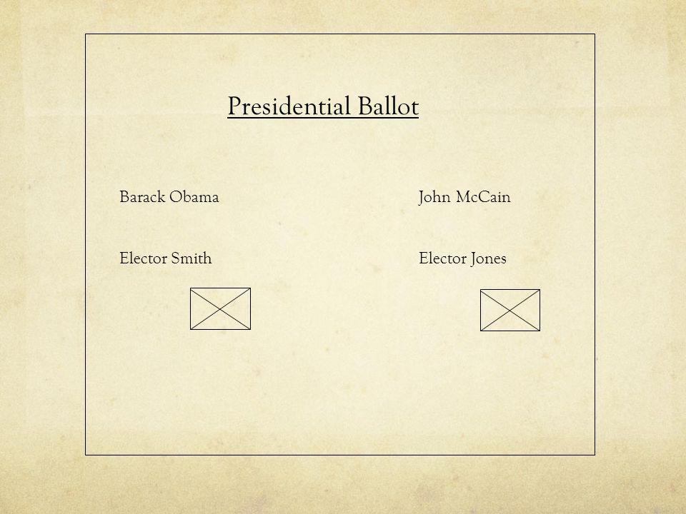 Presidential Ballot Barack Obama Elector Smith John McCain