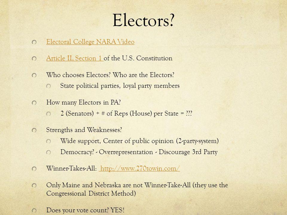 Electors Electoral College NARA Video
