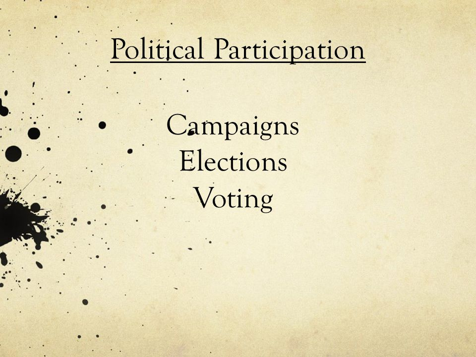 Campaigns Elections Voting