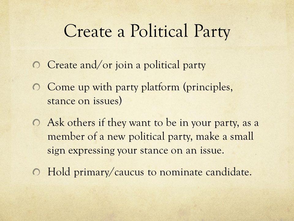 Create a Political Party