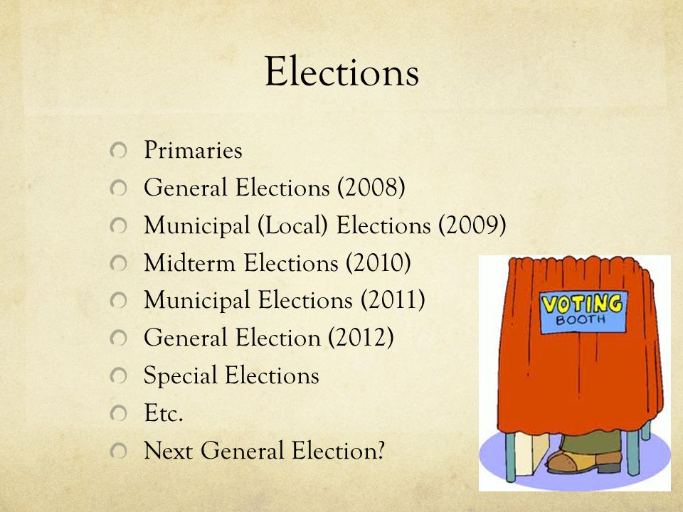 Elections Primaries General Elections (2008)