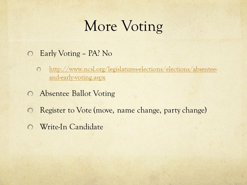 More Voting Early Voting – PA No Absentee Ballot Voting