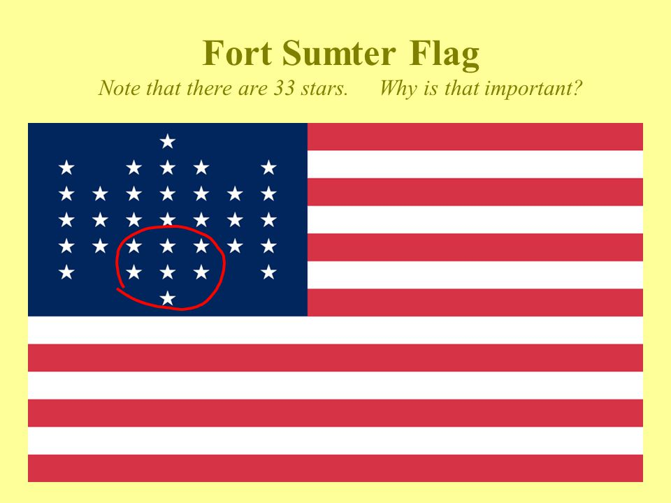 Fort Sumter Flag Note that there are 33 stars. Why is that important