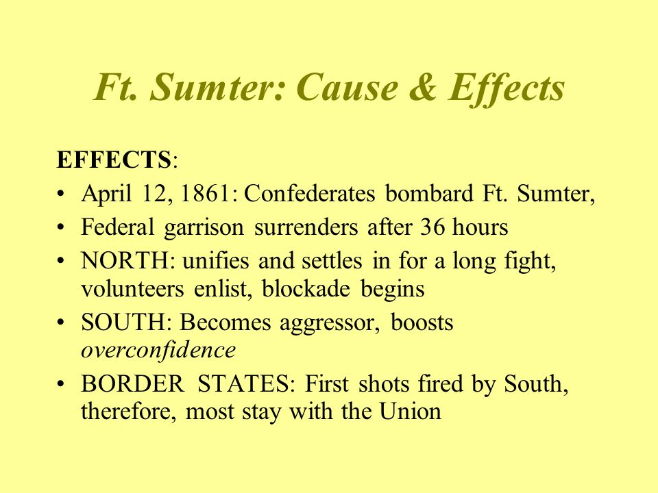 Ft. Sumter: Cause & Effects
