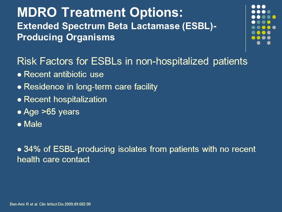 MDRO Treatment Options: Extended Spectrum Beta Lactamase (ESBL)-Producing Organisms