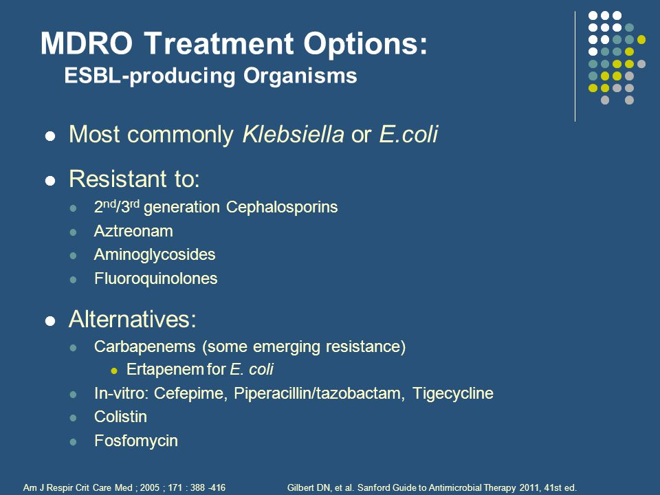 MDRO Treatment Options: ESBL-producing Organisms