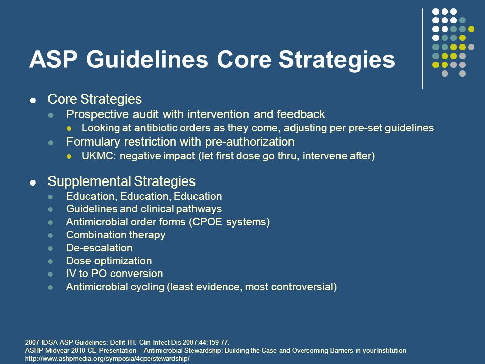 ASP Guidelines Core Strategies