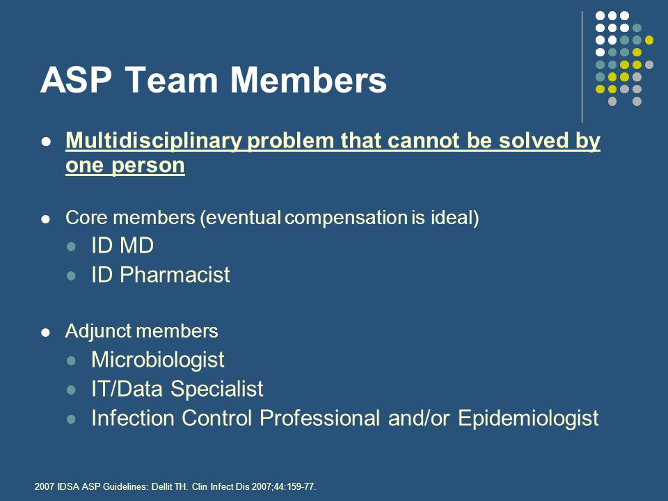 ASP Team Members Multidisciplinary problem that cannot be solved by one person. Core members (eventual compensation is ideal)
