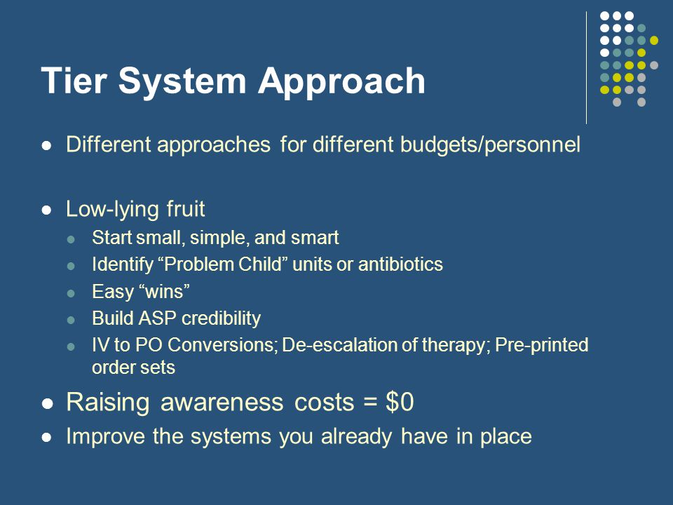 Tier System Approach Raising awareness costs = $0