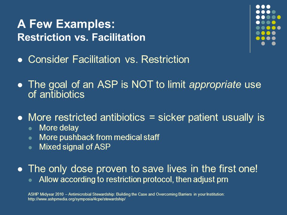 A Few Examples: Restriction vs. Facilitation
