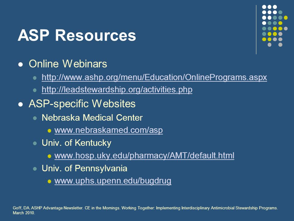 ASP Resources Online Webinars ASP-specific Websites