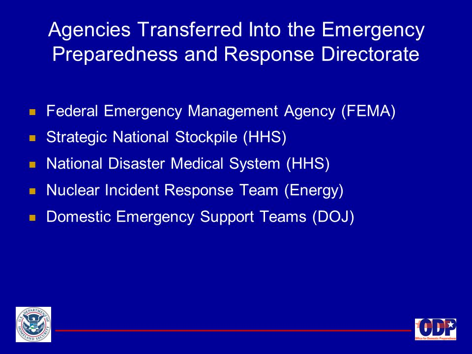 Agencies Transferred Into the Emergency Preparedness and Response Directorate