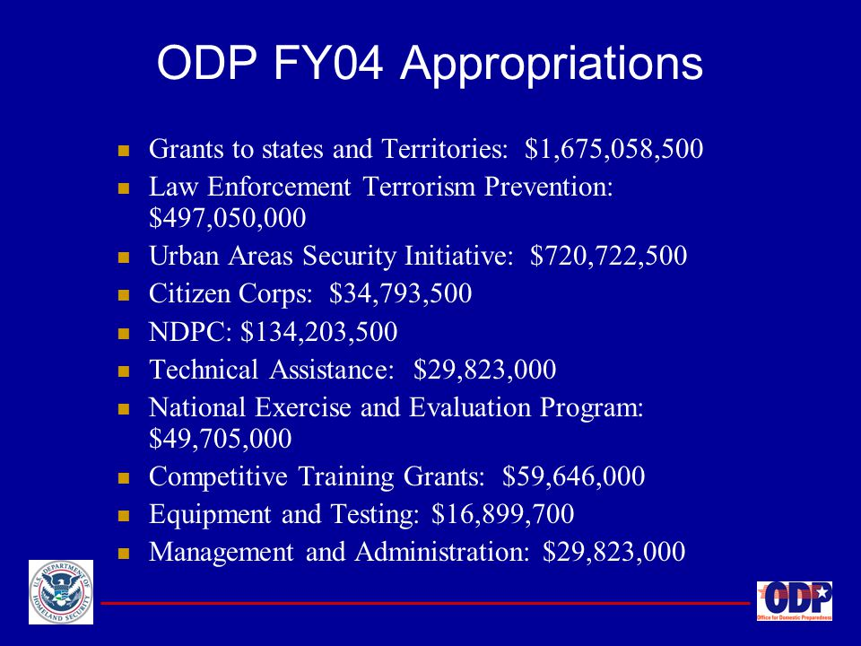 ODP FY04 Appropriations Grants to states and Territories: $1,675,058,500. Law Enforcement Terrorism Prevention: $497,050,000.