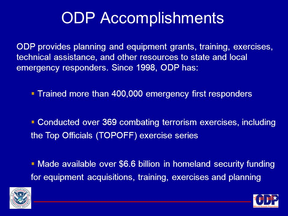 ODP Accomplishments