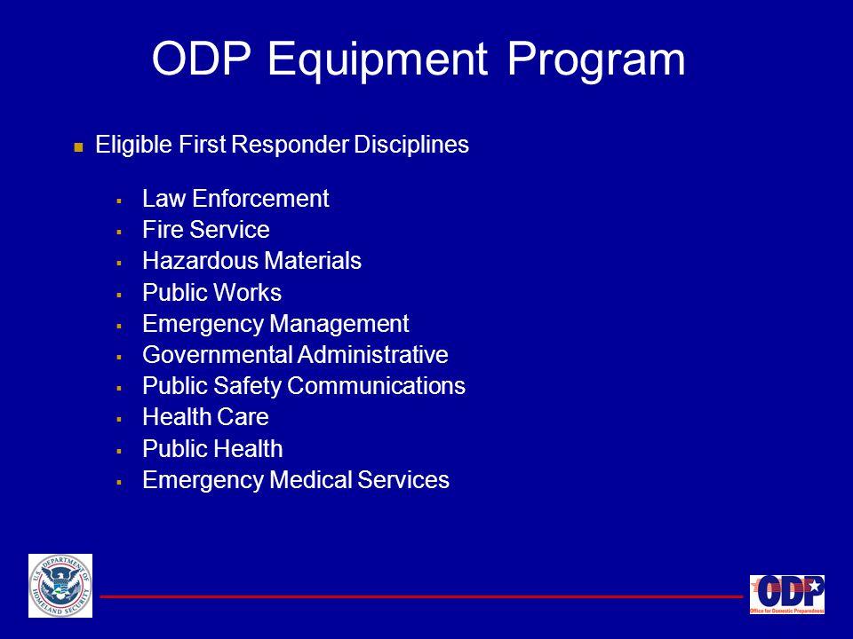 ODP Equipment Program Eligible First Responder Disciplines