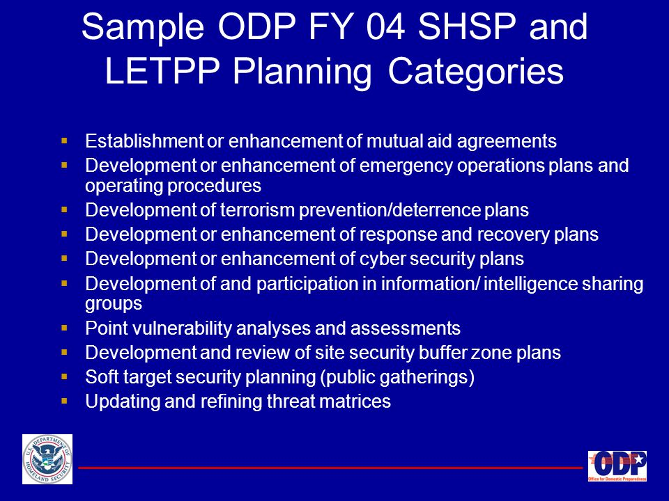 Sample ODP FY 04 SHSP and LETPP Planning Categories