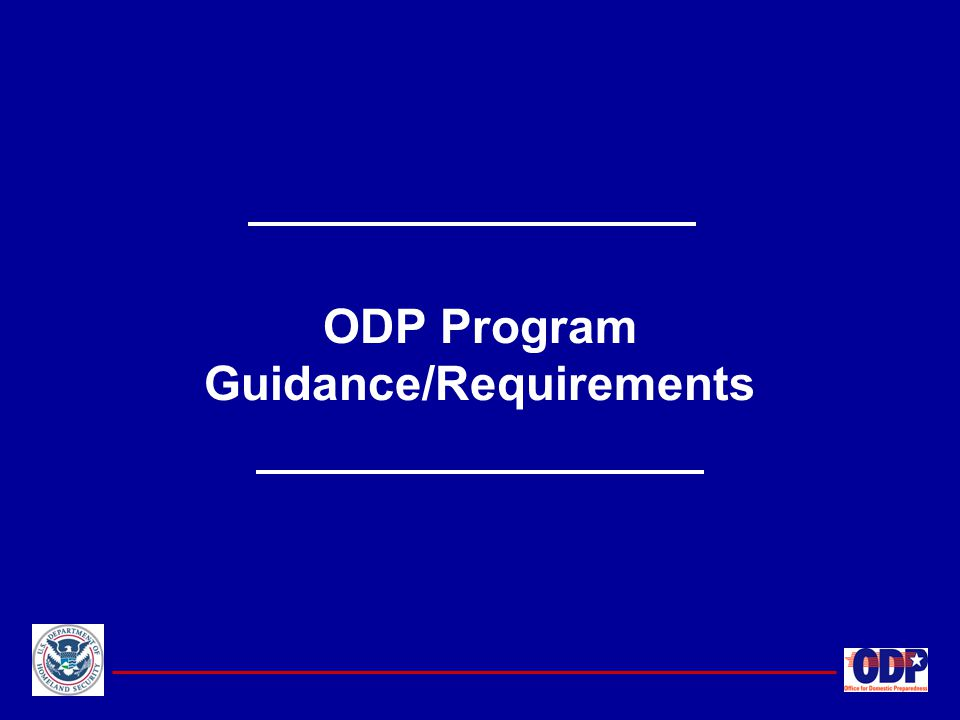 ODP Program Guidance/Requirements