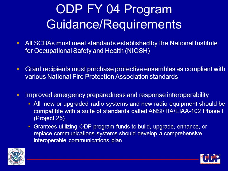 ODP FY 04 Program Guidance/Requirements