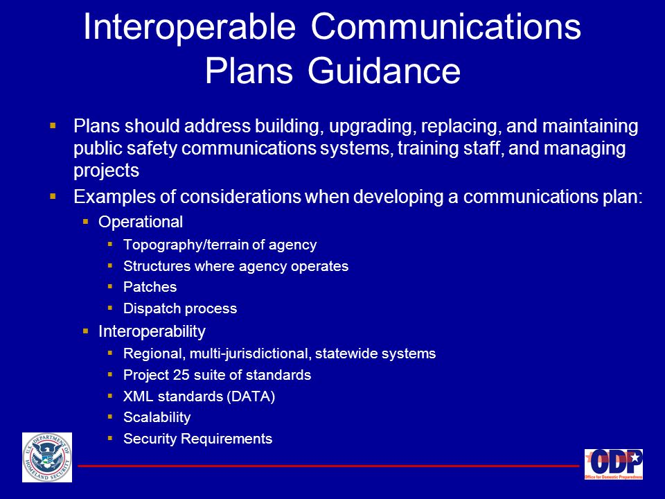 Interoperable Communications Plans Guidance
