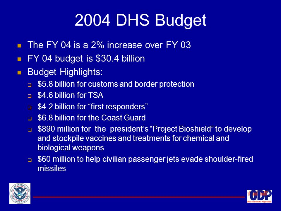 2004 DHS Budget The FY 04 is a 2% increase over FY 03