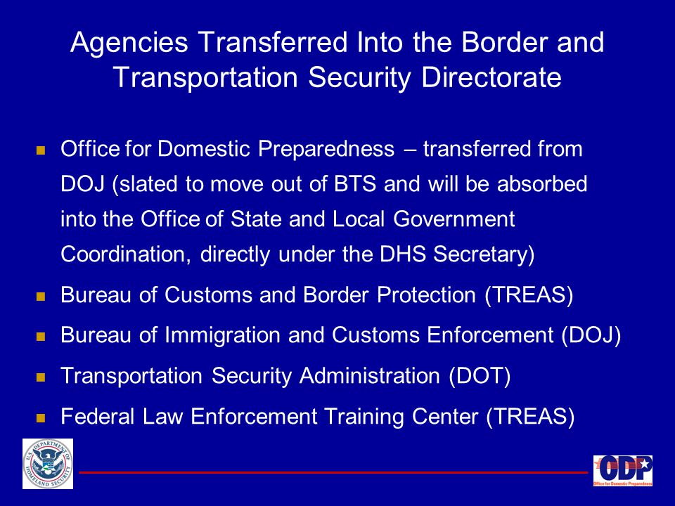 Agencies Transferred Into the Border and Transportation Security Directorate