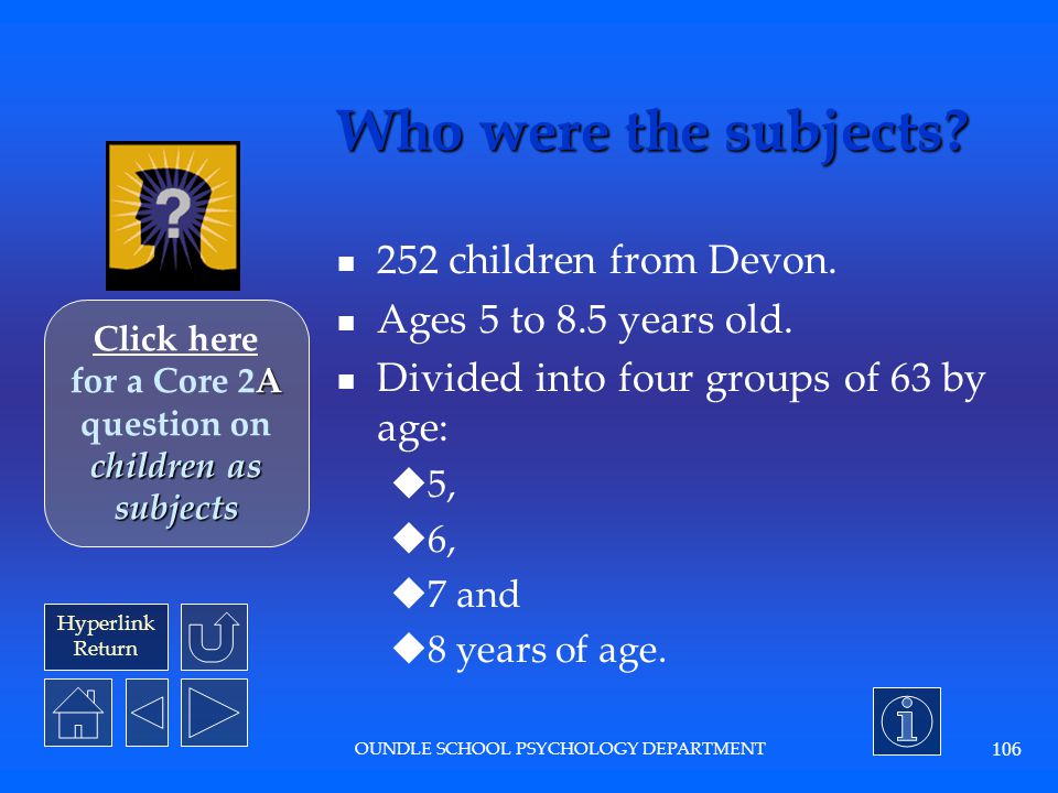 Click here for a Core 2A question on children as subjects