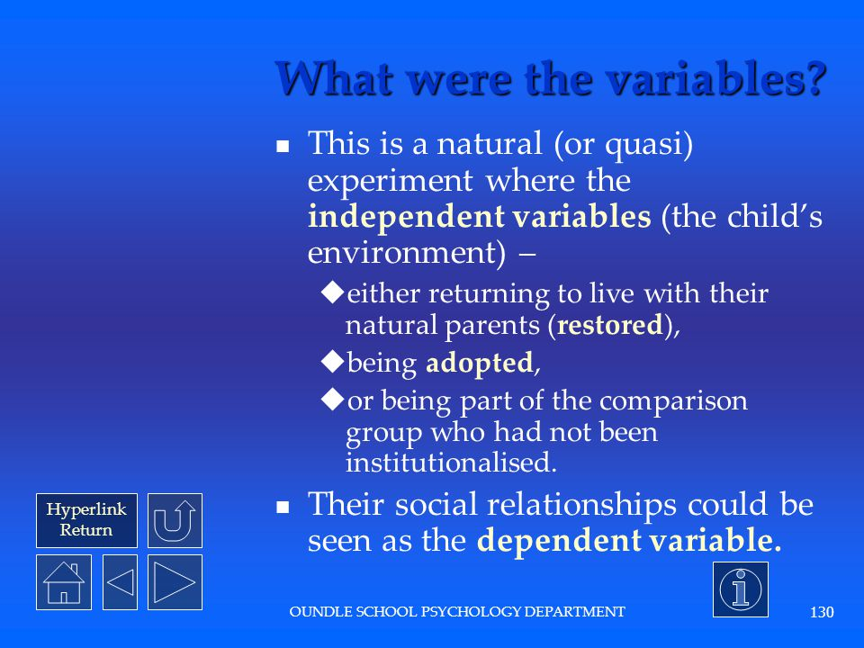 What were the variables