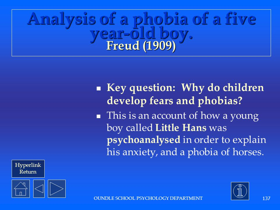 Analysis of a phobia of a five year-old boy. Freud (1909)
