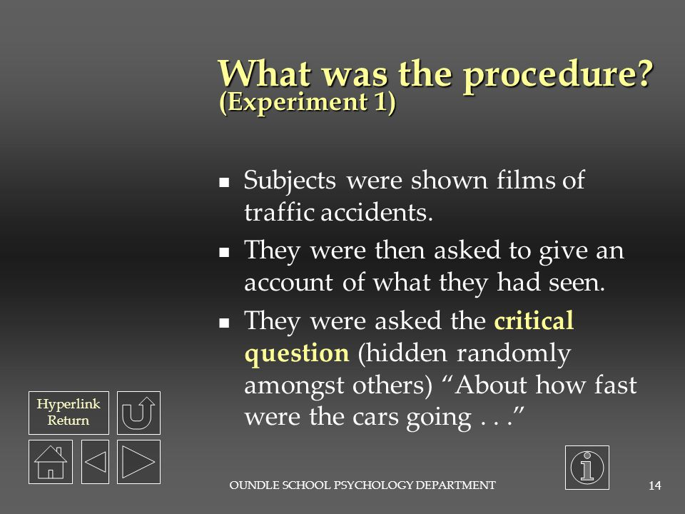 What was the procedure (Experiment 1)