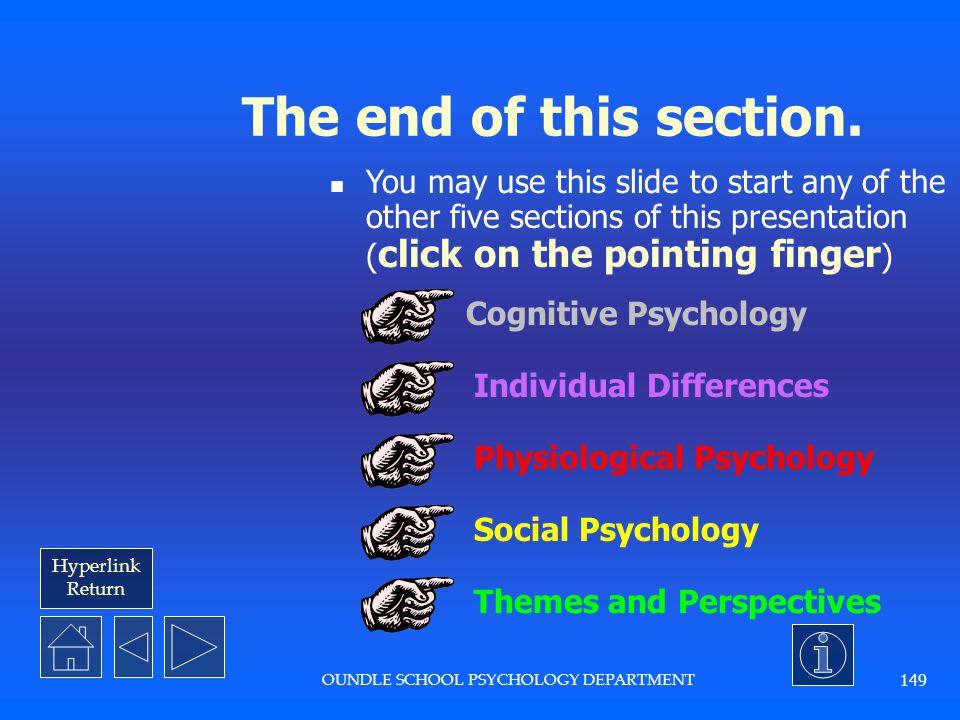 OUNDLE SCHOOL PSYCHOLOGY DEPARTMENT