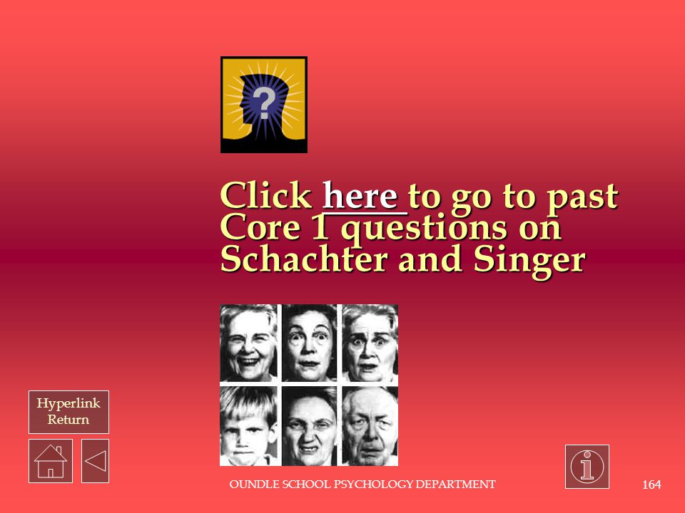 Click here to go to past Core 1 questions on Schachter and Singer