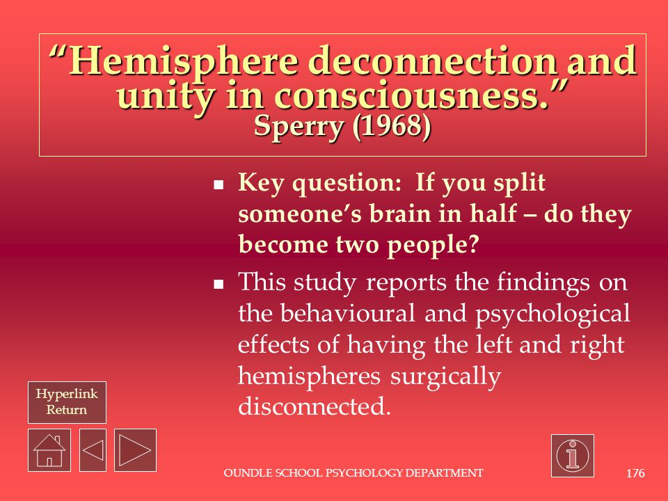 Hemisphere deconnection and unity in consciousness. Sperry (1968)