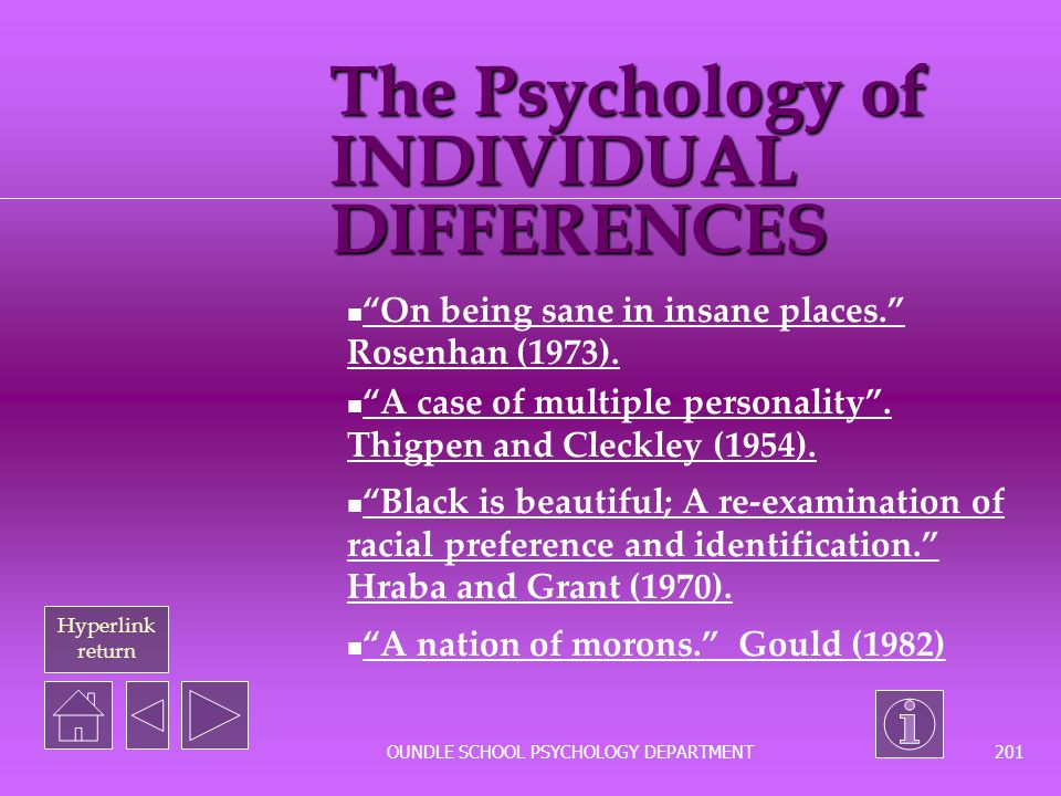 The Psychology of INDIVIDUAL DIFFERENCES