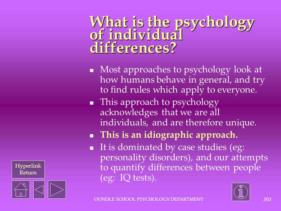 What is the psychology of individual differences