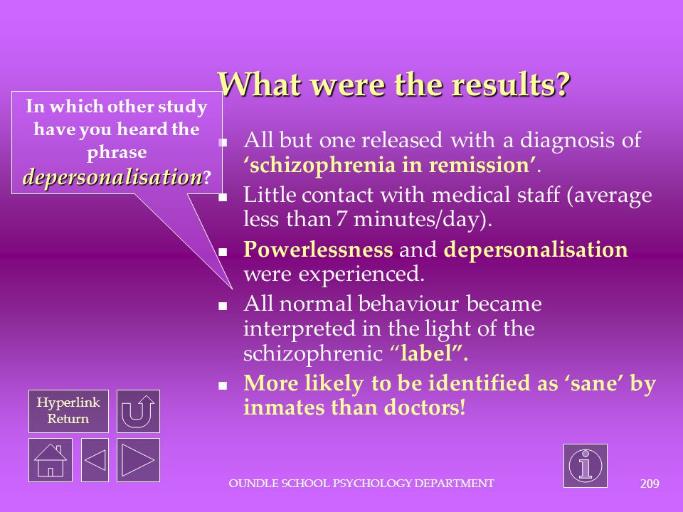 In which other study have you heard the phrase depersonalisation