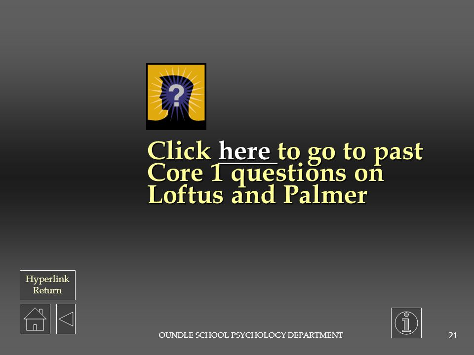 Click here to go to past Core 1 questions on Loftus and Palmer