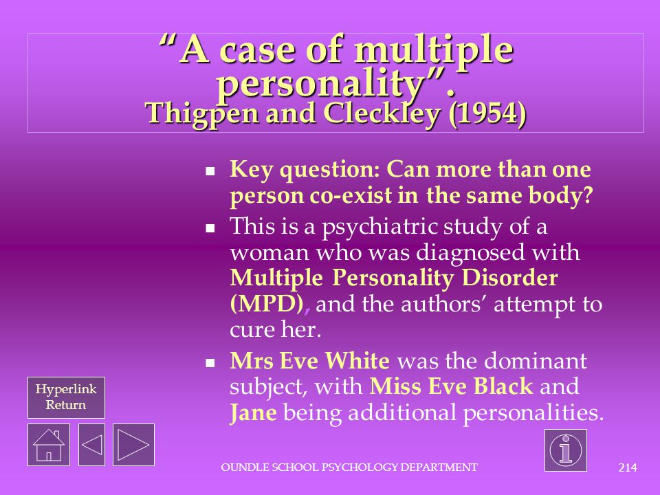 A case of multiple personality . Thigpen and Cleckley (1954)