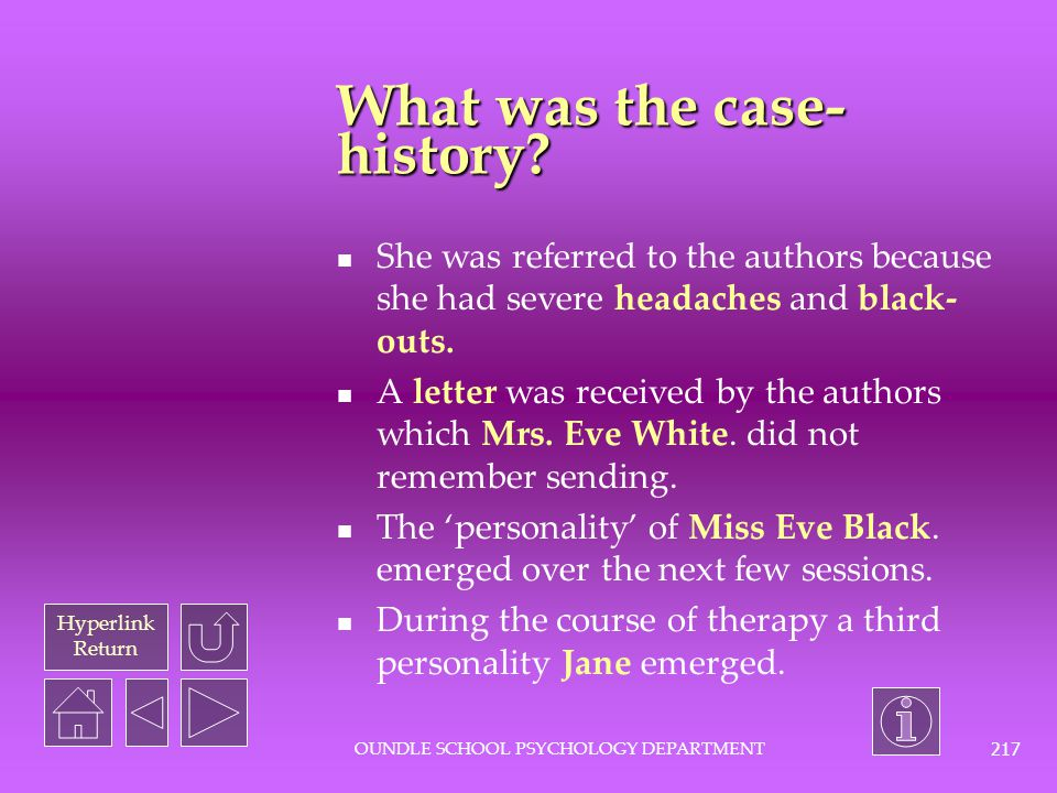 What was the case-history