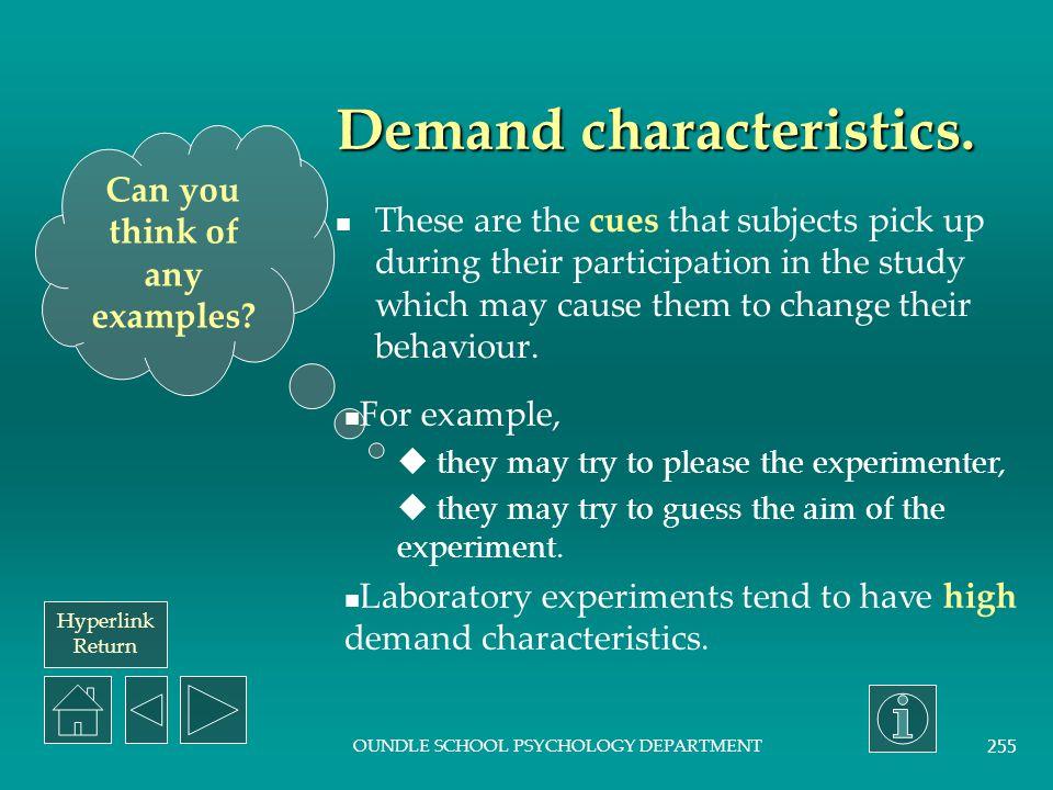 Demand characteristics.