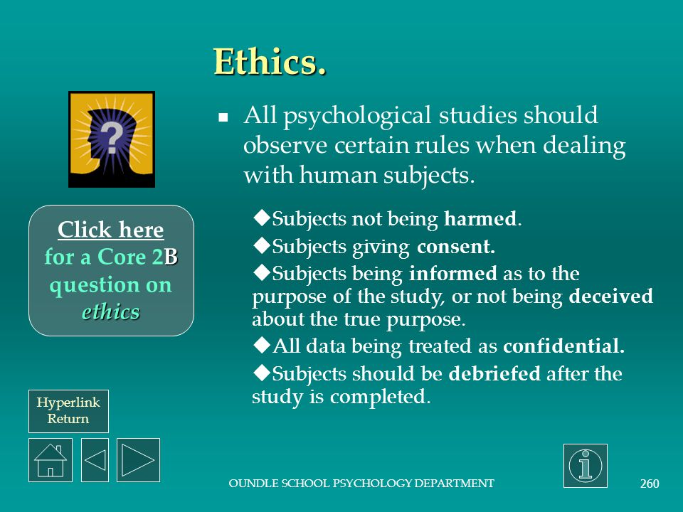 Click here for a Core 2B question on ethics