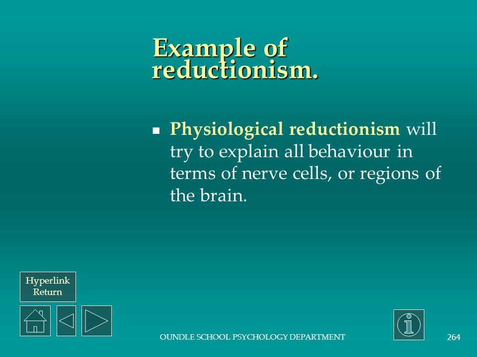 Example of reductionism.