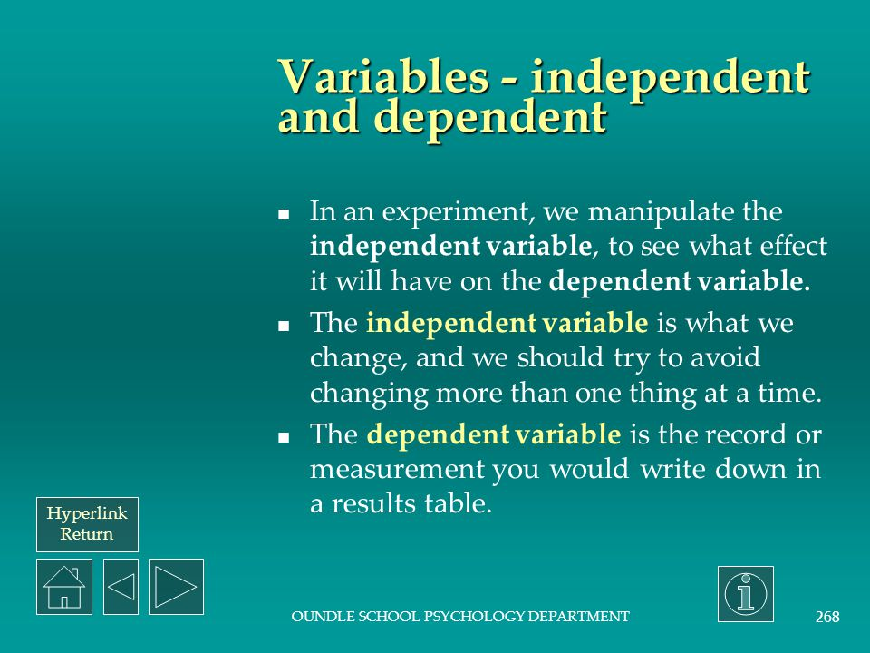 Variables - independent and dependent