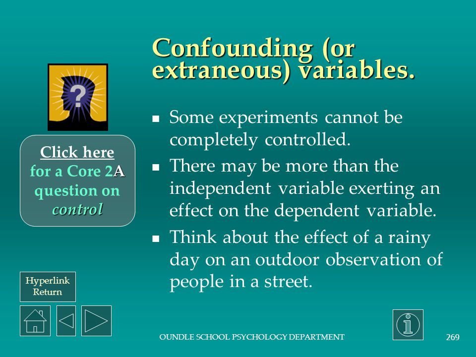 Confounding (or extraneous) variables.