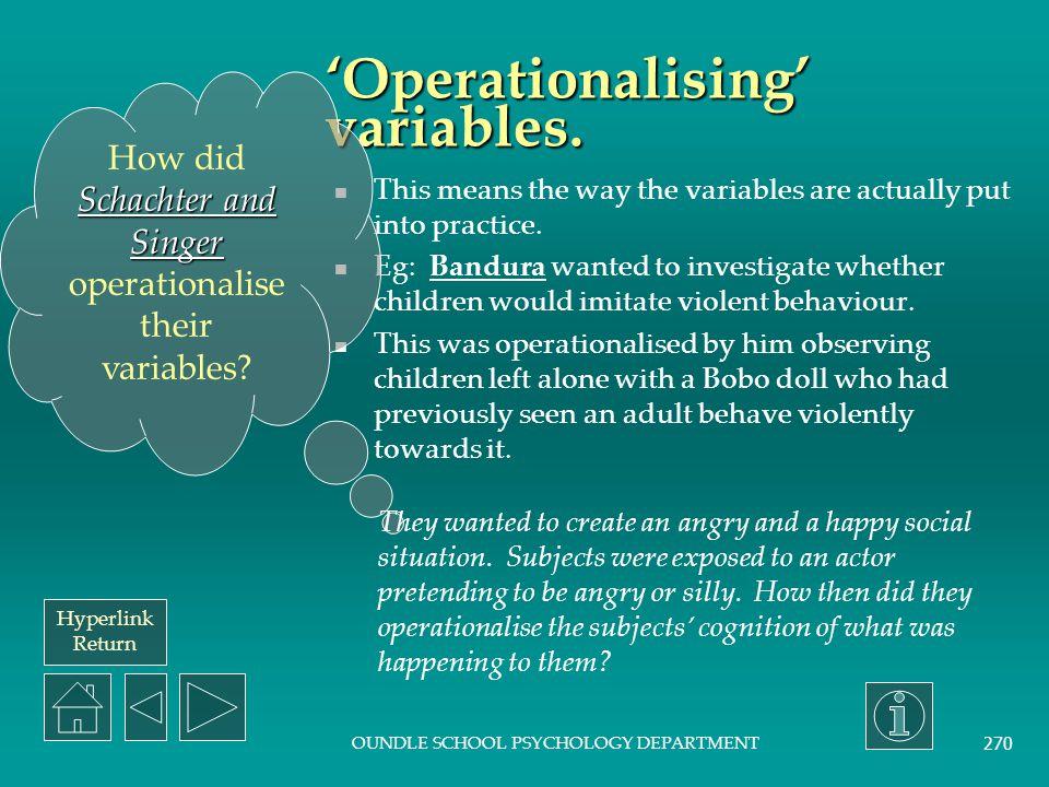 'Operationalising' variables.