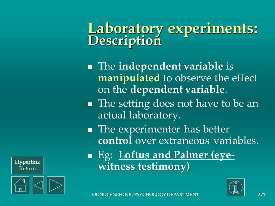 Laboratory experiments: Description
