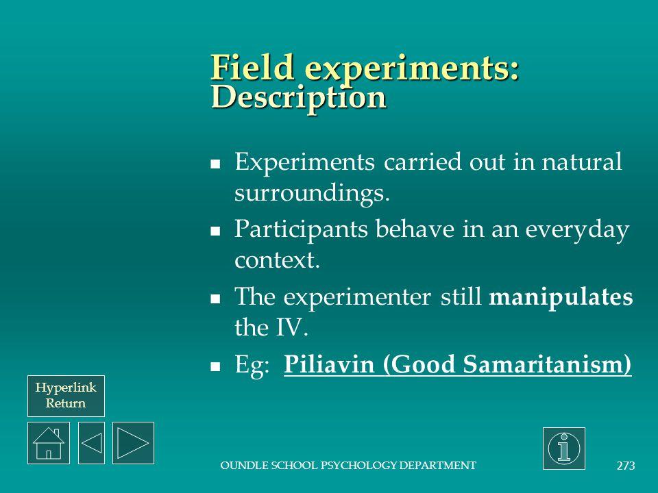 Field experiments: Description