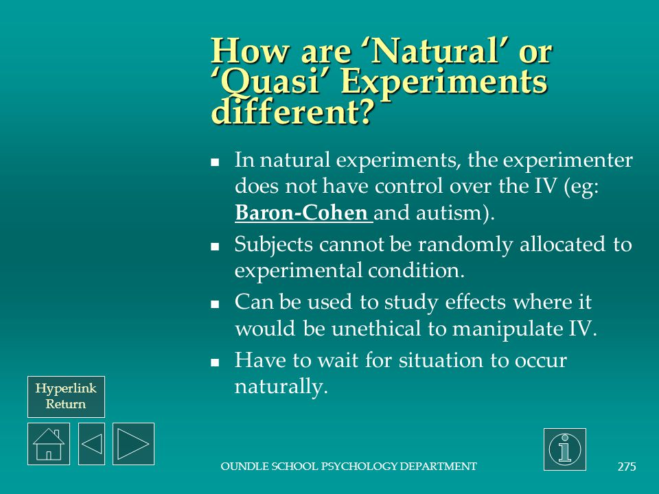 How are 'Natural' or 'Quasi' Experiments different
